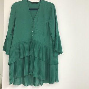 ZARA GREEN PLEATED DRESS- SIZE S
